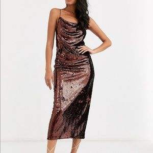 NWT ASOS Sequin MIDI Dress with backless detail